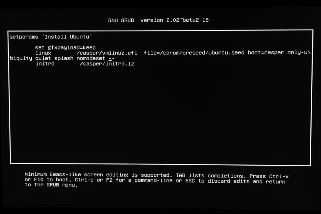 nomodeset added to the boot options during Linux installation.