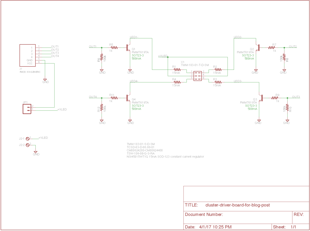 Cluster pilot light driver board schematic.
