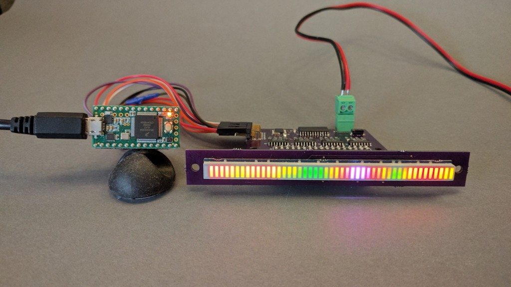 A Teensy 3.2 driving a SparkFun 48-segment RGB LED bar graph display using the hardware built in a previous post.
