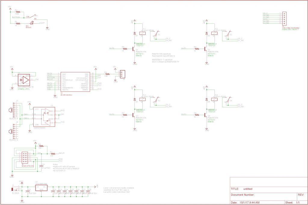 DMX relay board schematic.