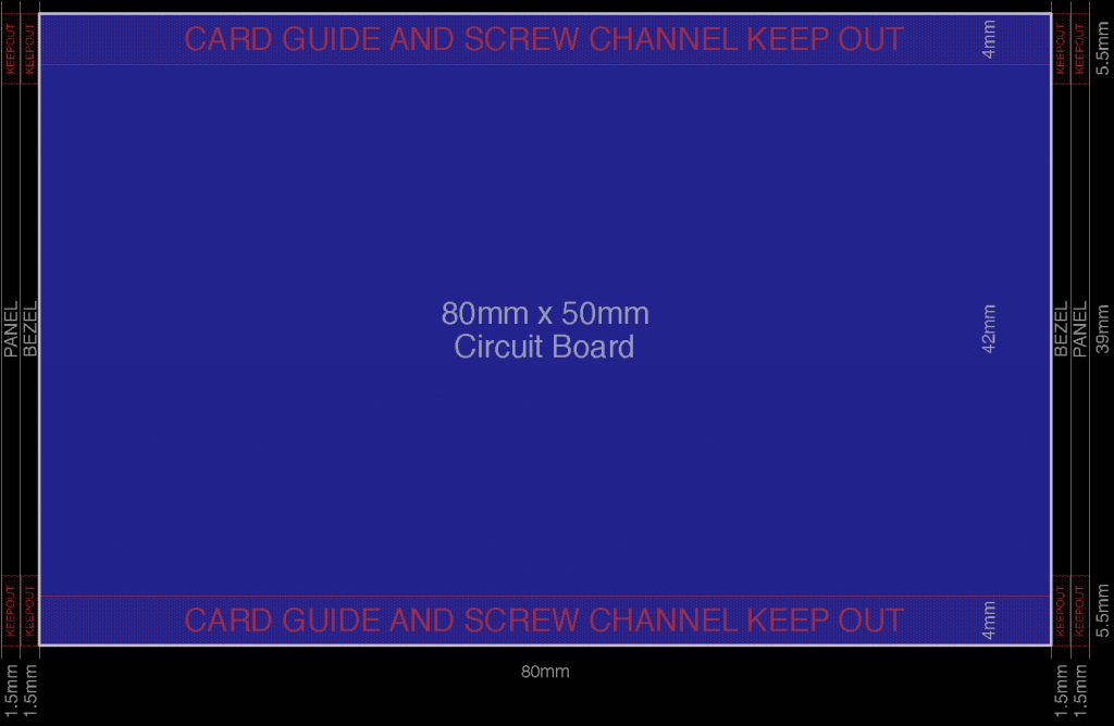Avoid these keep out regions when designing a board to fit the Hammond 1455C801 extruded aluminum enclosure.