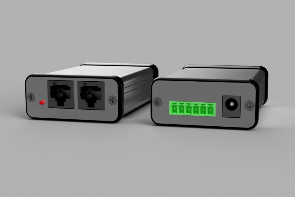 3D render of the DMX controller in its enclosure with end panels.