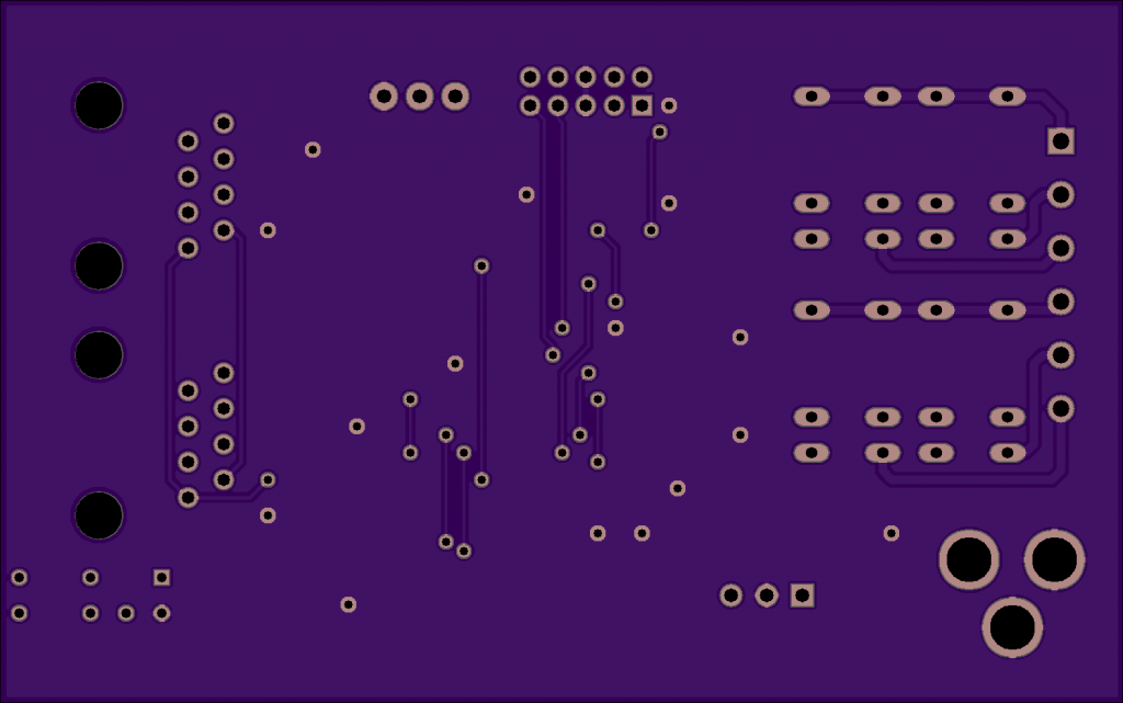 OSHPark render of the bottom of the DMX relay controller board.
