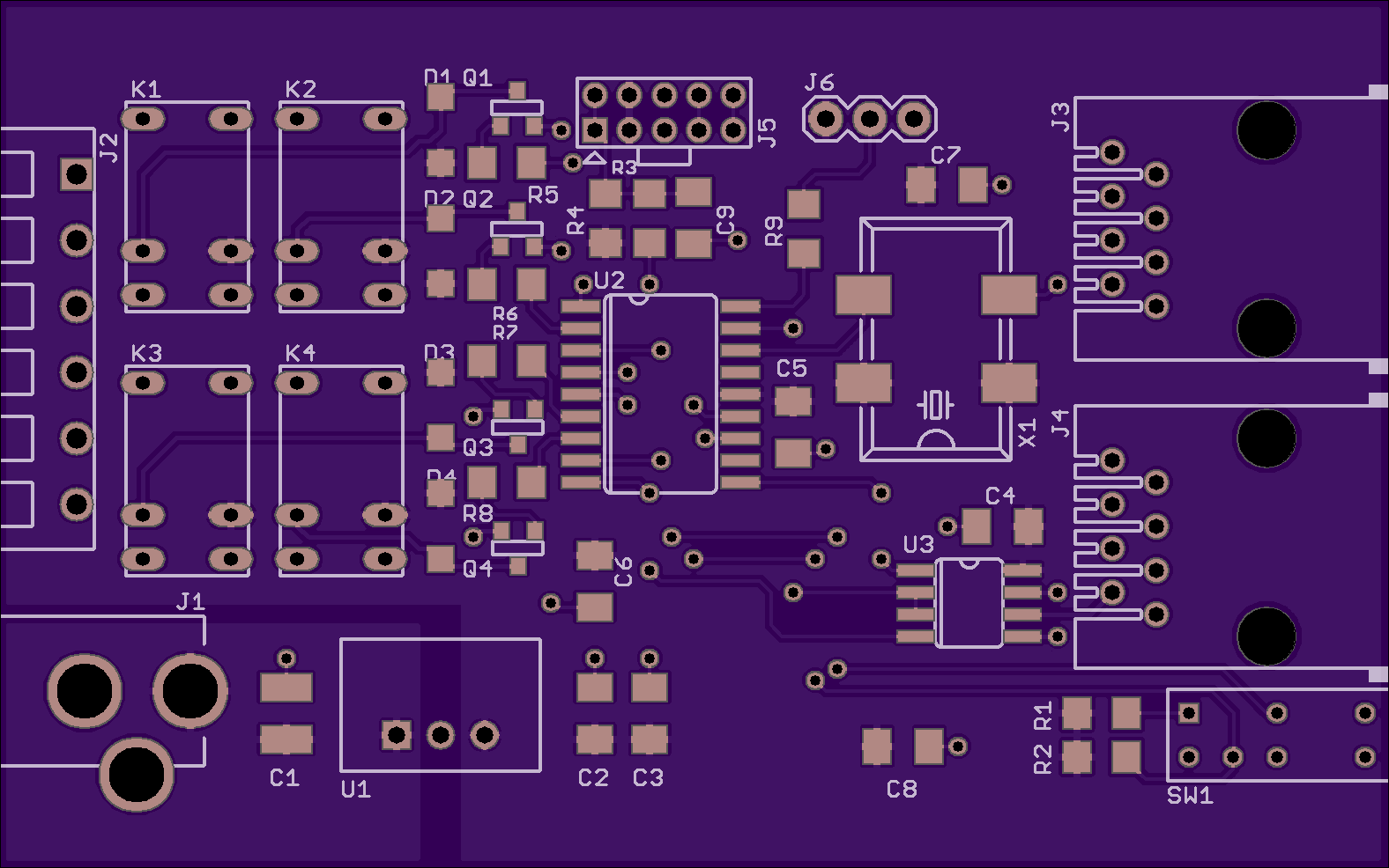 Pic18 Four Channel Dmx Relay Controller Photons Electrons And Dirt Board Diagram Oshpark Render Of The Top