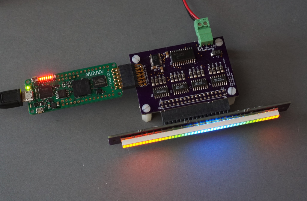 The 48-segment RGB LED board connected to the Arrow/Trenz MAX1000 FPGA board.