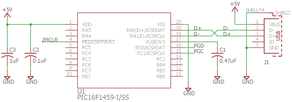 Minimal PIC16F1459 schematic for USB 2.0 operation.