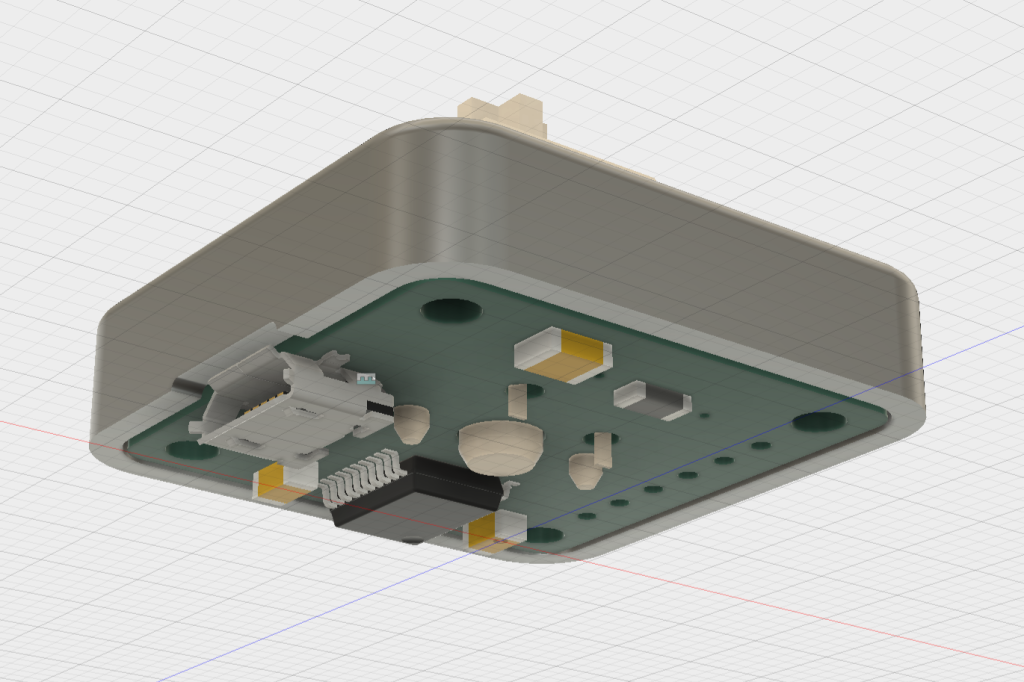 PCB fits recessed into the bottom of the top half of the enclosure.
