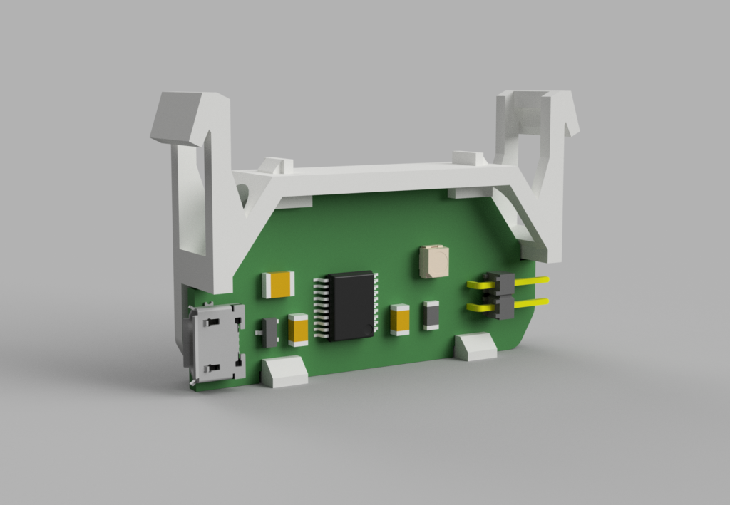 A render of the contact block circuit board holder and circuit board. Sometimes renders don't work out in real life.