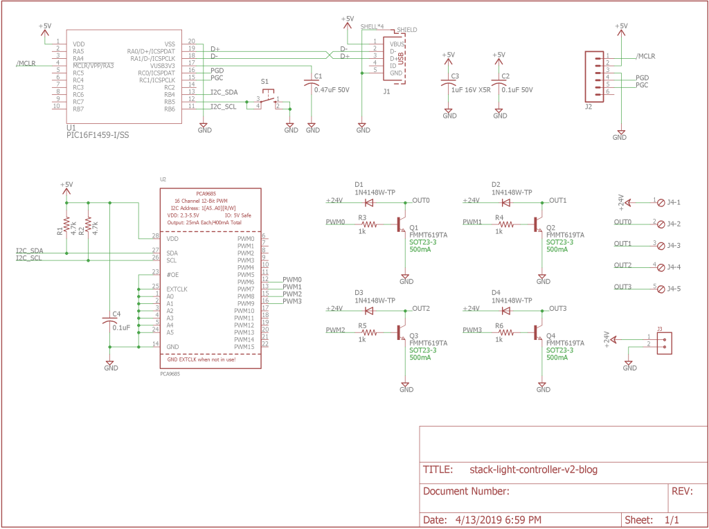 USB stack light controller schematic. Needs ESD protection. Grrr.