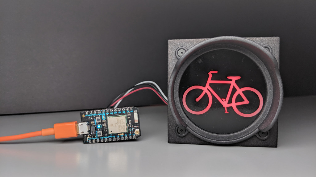 Control the bicycle traffic signal over Wi-Fi using a Particle Photon.