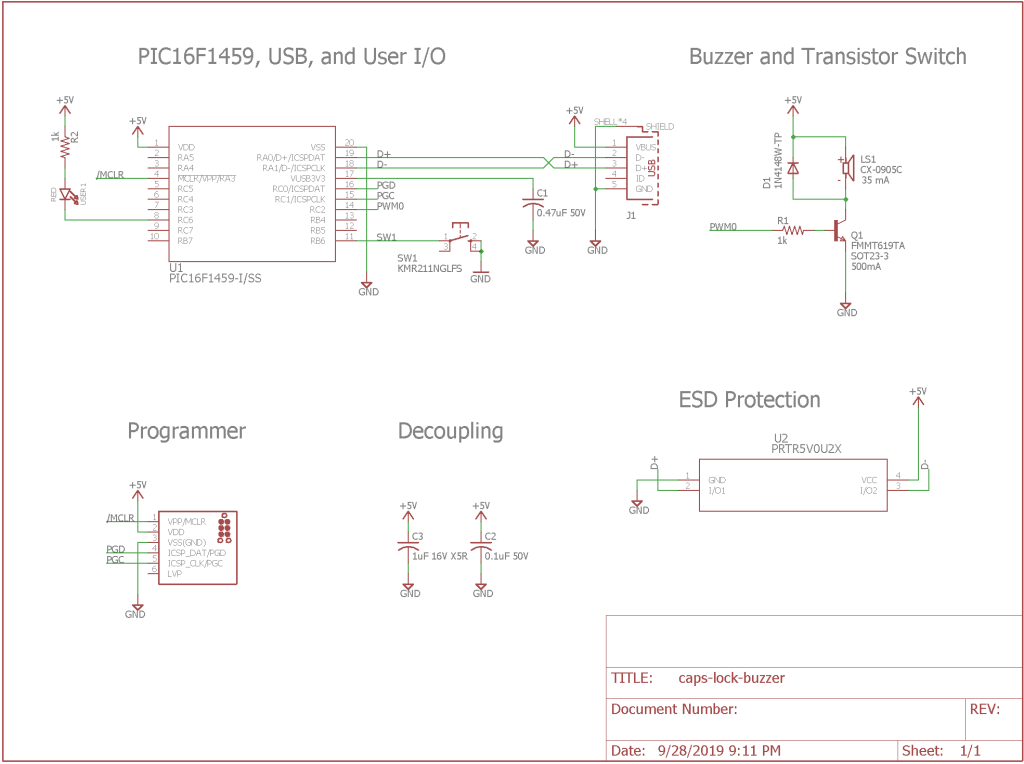 Updated schematic. The U2, SW1, R2, and USER1 LED are new to this version of the design.