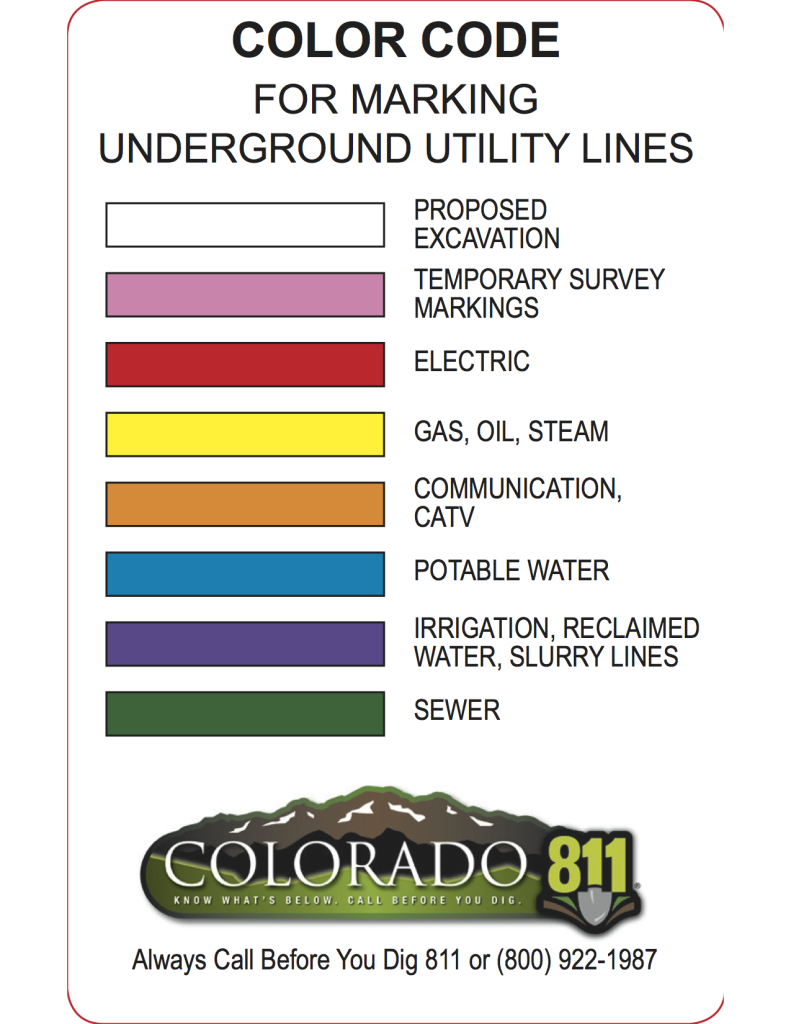 Color code chart from colorado811.org.