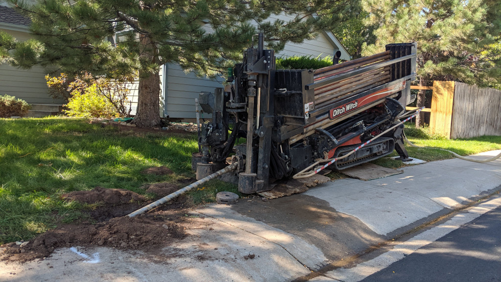 Horizontal directional drilling machine at work in my neighborhood.