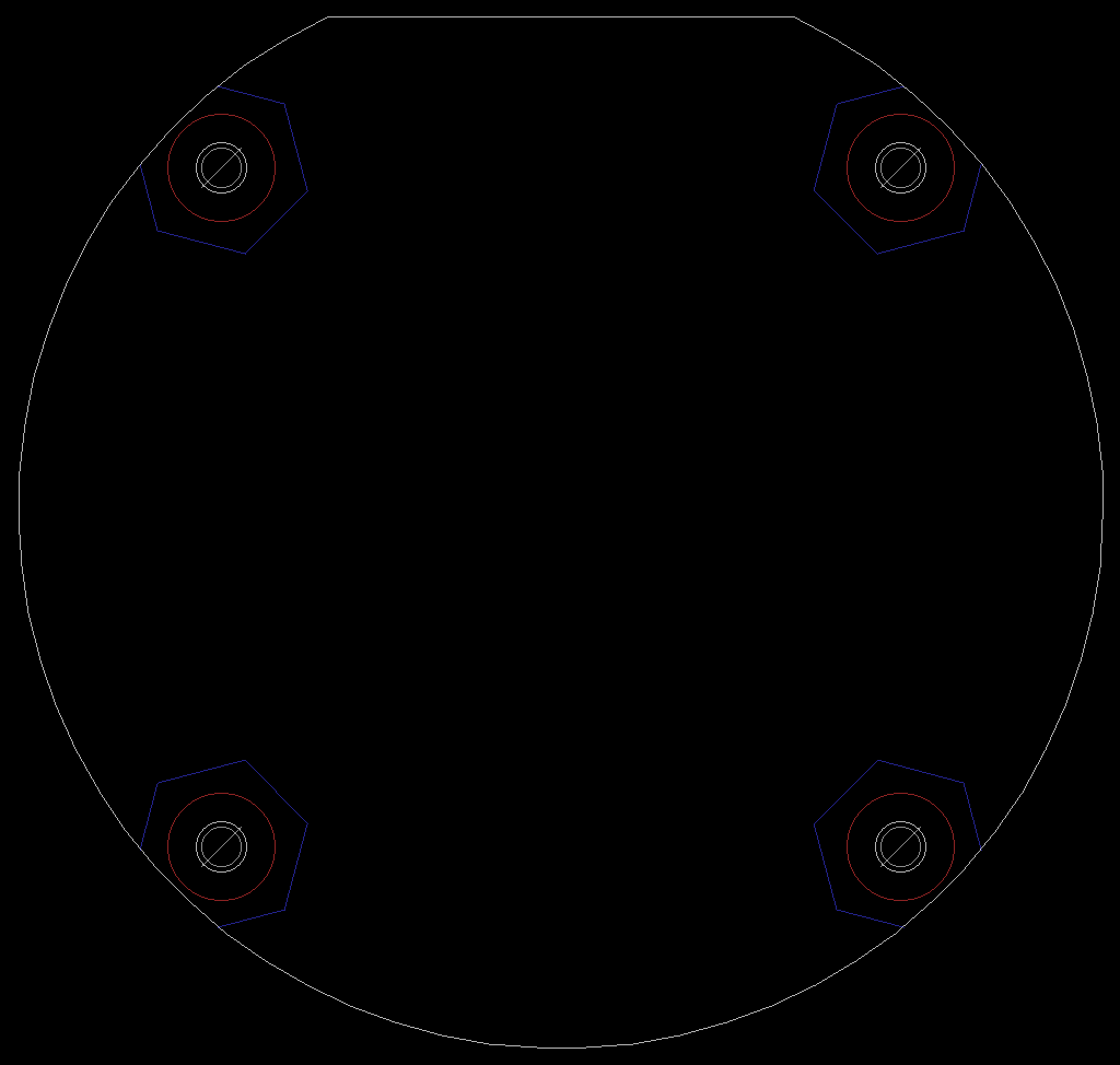 The completed board outline in Eagle PCB. The white outline is on the Dimension (20) layer. The hex and round keep out areas are on the blue bKeepout (40) and red tKeepout (39) layers respectively.
