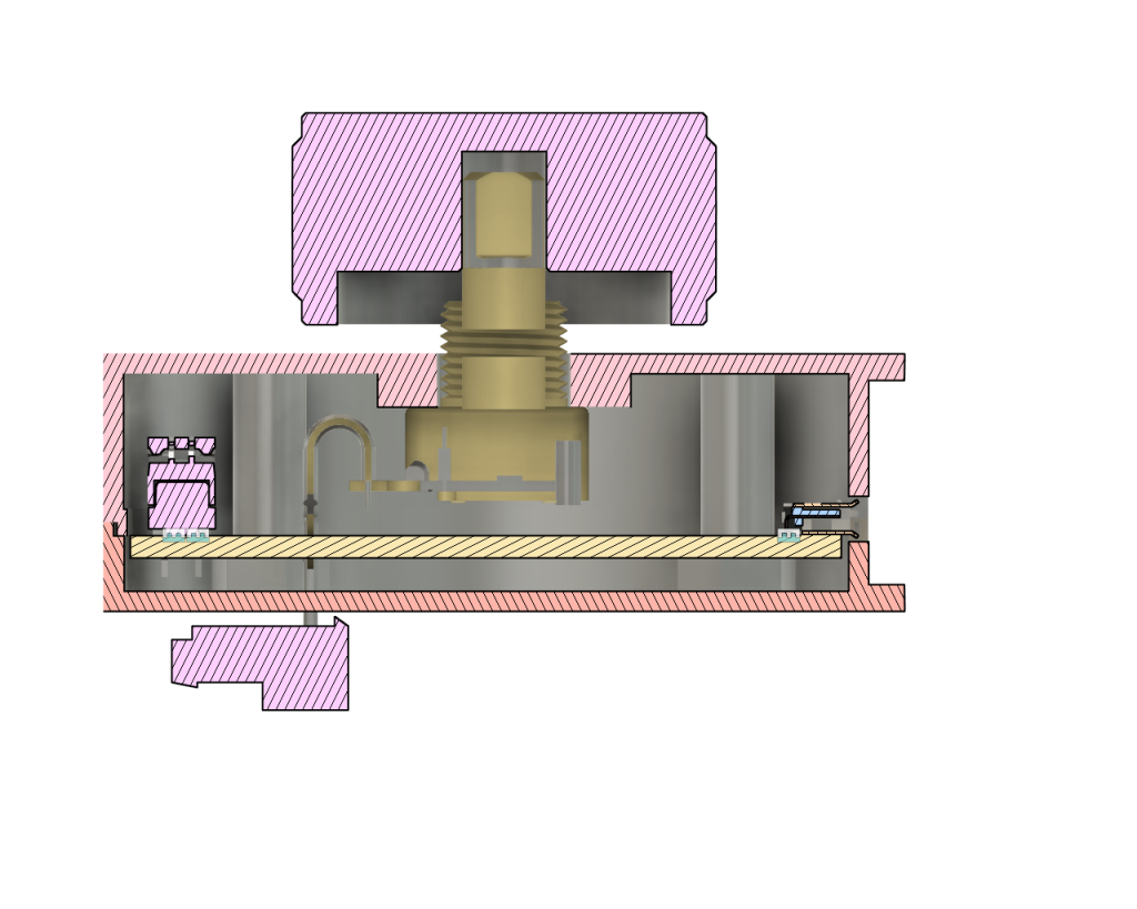 Section analysis showing the vertical alignment of the encoder within the enclosure.