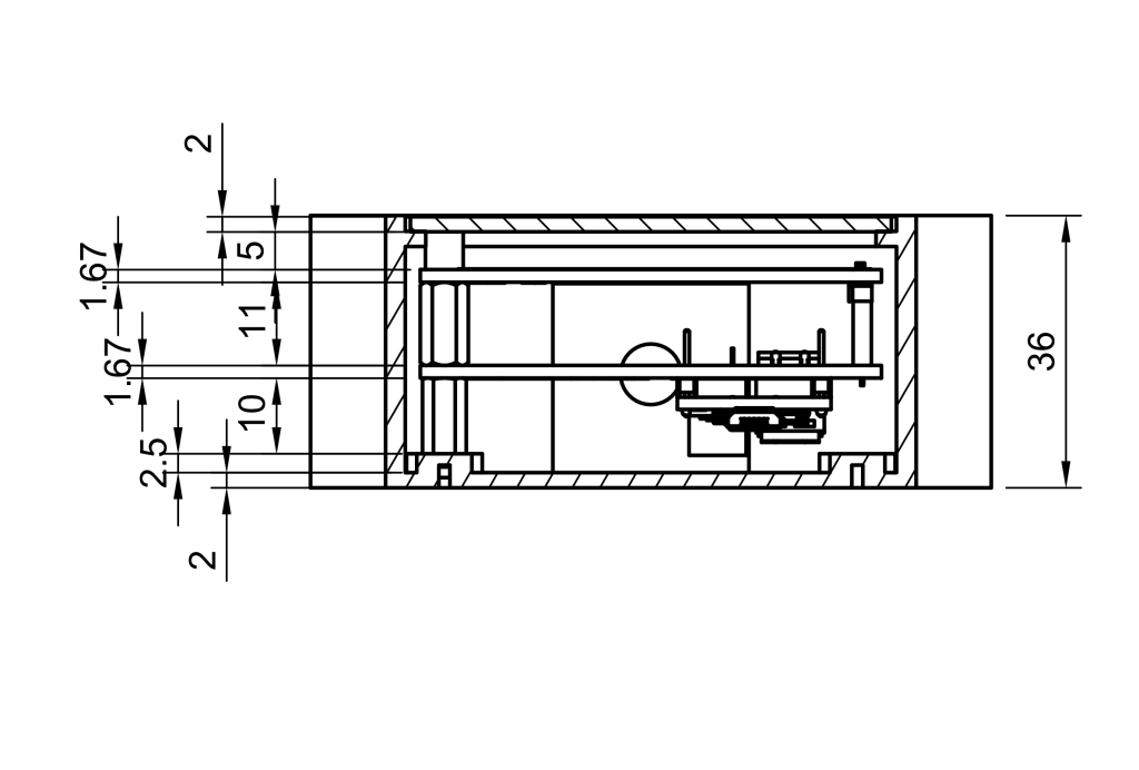Dimensioned drawing showing the vertical stackup of all the components inside the enclosure.