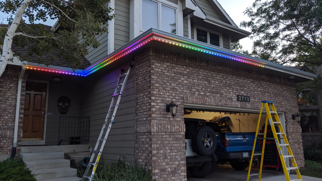 Hanging a bunch of iColor Flex LMX string lights on the house for Halloween.