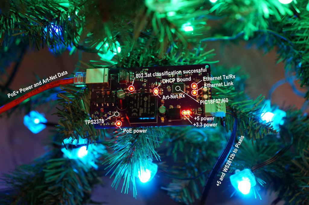 A circuit board in a (fake) pine tree.