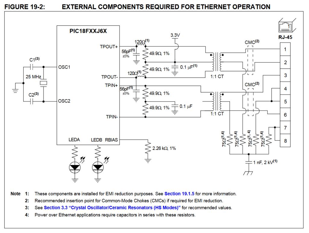 PIC18F67J60 minimal Ethernet circuit.