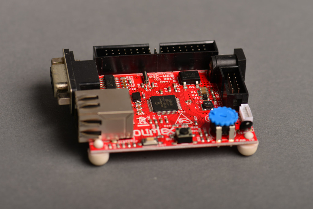 The Olimex PIC-WEB board I used for software development while waiting for my boards.