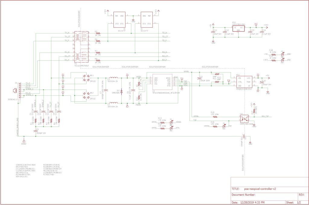 Finished schematic, page one.