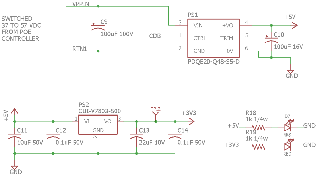 Isolated wide-input range to 5 VDC switching power supply module (top) and 3.3 VDC non-isolated switching power supply module (bottom).