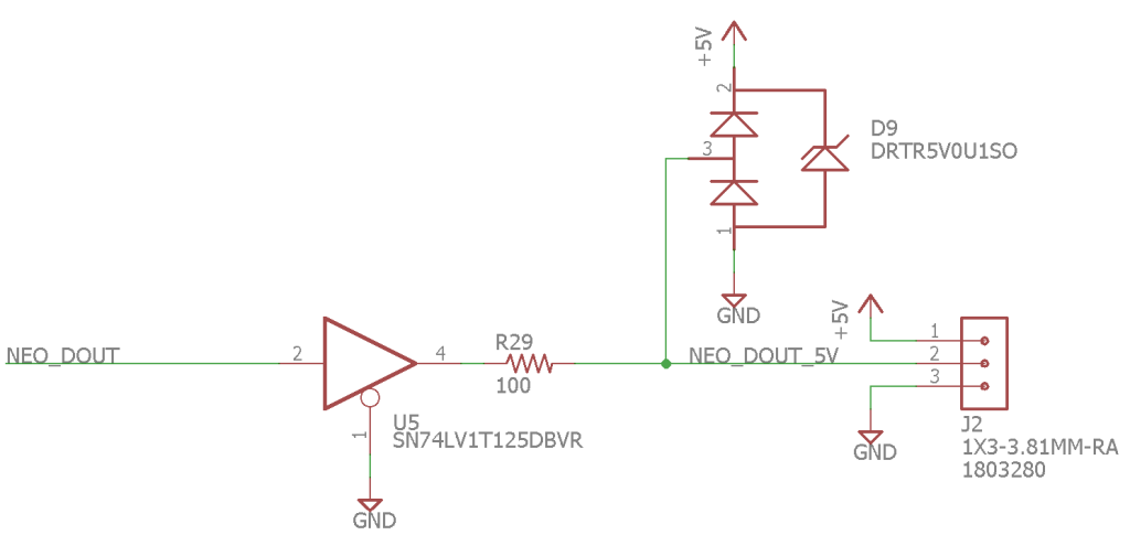 The 3.3 VDC to 5 VDC level translator and transient protection circuitry used to drive the WS2812 LEDs.