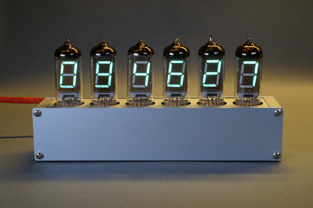 The completed and assembled PoE-powered vintage VFD tube clock.