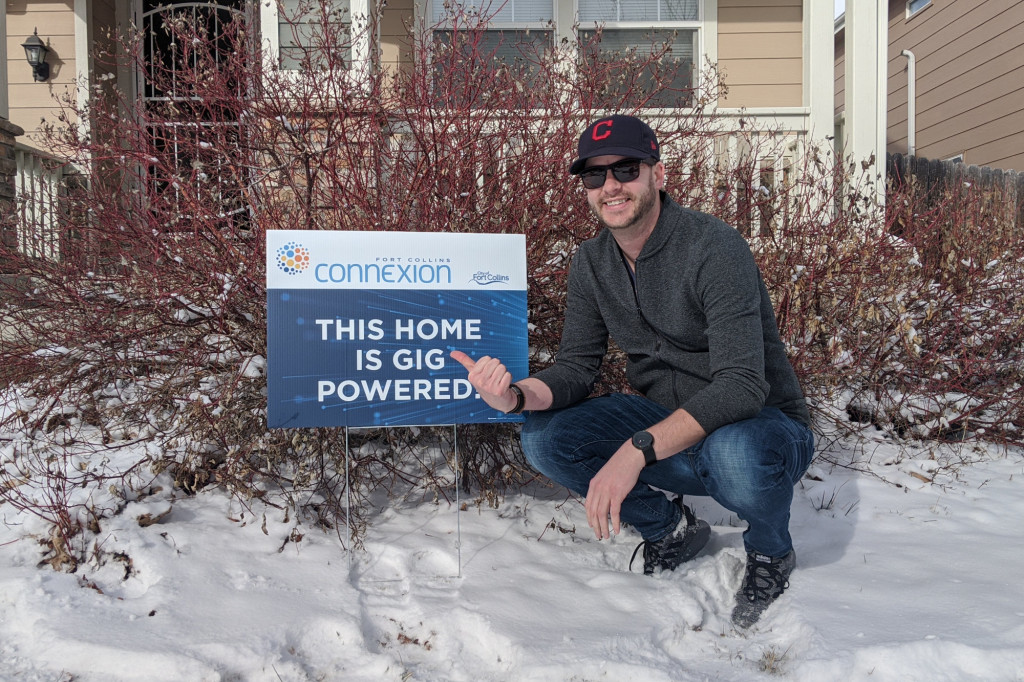 After four years of hard work, hundreds of hours of volunteer time, and taking on and winning against one of the largest and most powerful corporations in the world, Colin got his Fort Collins Connexion gigabit fiber service installed today! Congratulations, Colin!