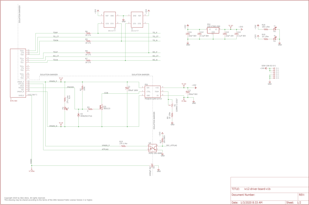 First page of the schematic for the power / control board.
