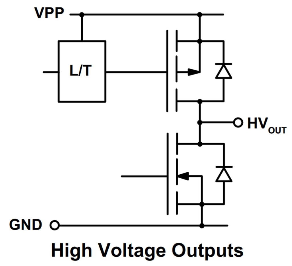 HV5812 high-voltage output configuration.