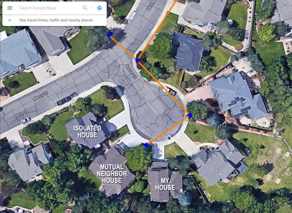 In this image, the conduit route is a orange line and the splice vaults and flower pots that provide access to the conduit are blue stars. They can reach every house on the cul-de-sac without going underneath a sidewalk or driveway except the house on the northwest corner that is labeled as the isolated house. (Satellite imagery from Google Maps.)