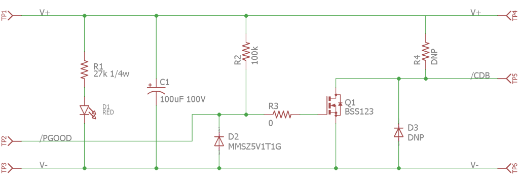 Open-drain, active-low power good to open-drain, active-low converter disable test board schematic. Rated for 60 V operation.