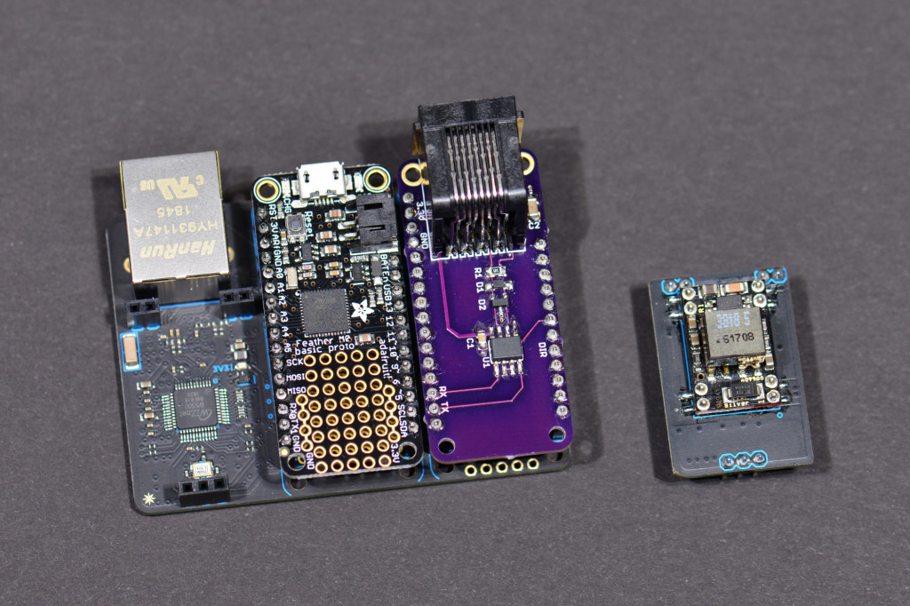 The assembled stack of boards. Do not connect the PoE module at this time.