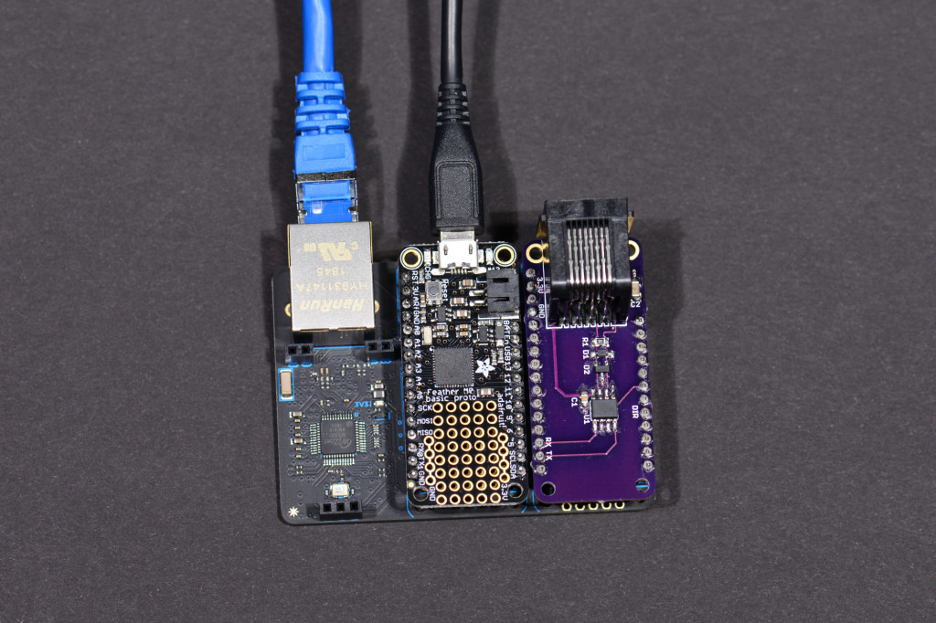 The boards set up to download and test the code.