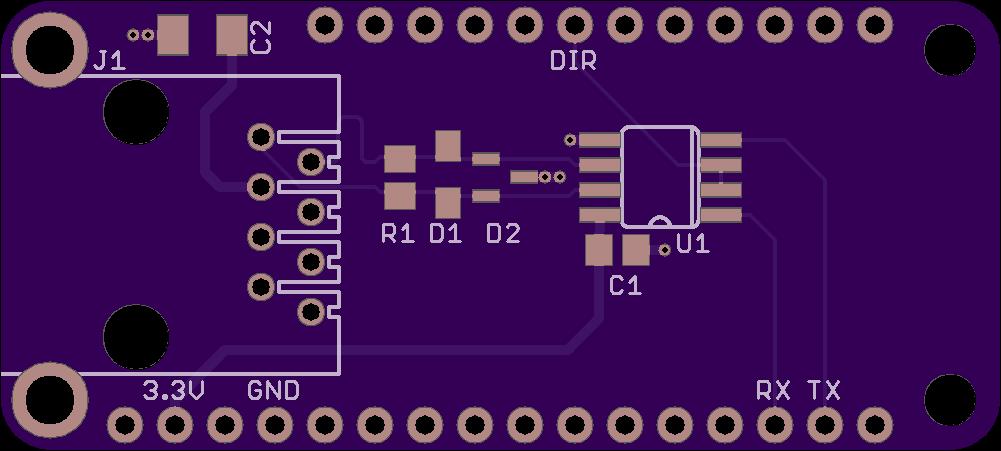 DMX-512 FeatherWing top side board render.
