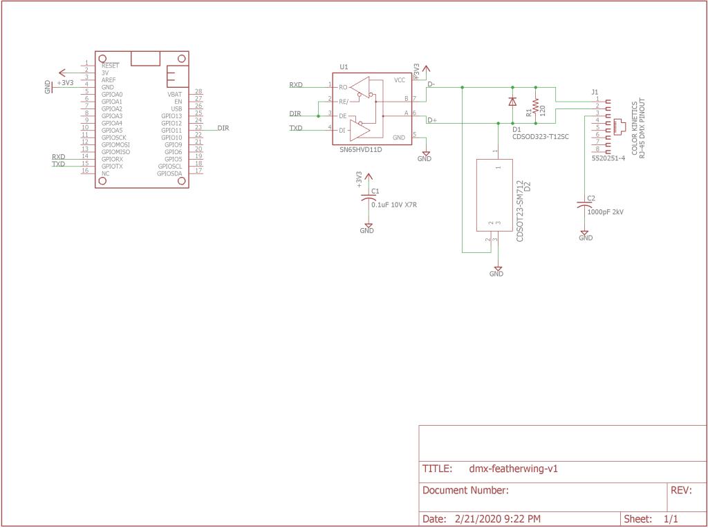 DMX-512 FeatherWing schematic.