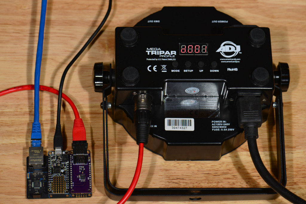 An inexpensive light like this one with an RJ-45 to XLR 3-pin adapter cable makes a good fixture for testing the hardware and software.
