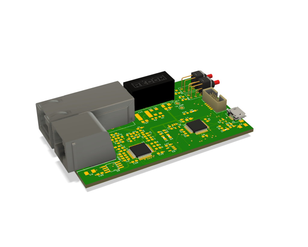 Render of the board design which integrates all three boards .