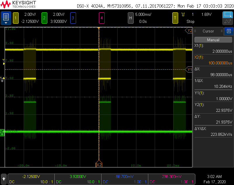 Screen capture from my scope showing DMX packets being transmitted at 50 Hz. The transmit data line is held high between packets which is the idle state for the serial interface.