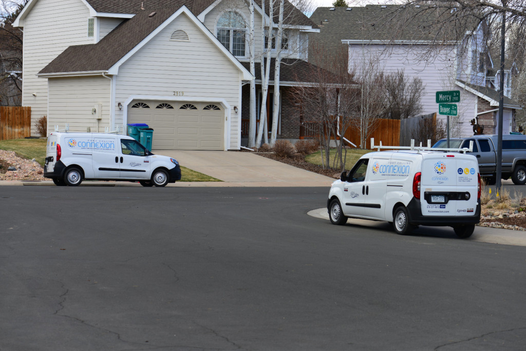 City employees were driving around the neighborhood inspecting the fiber installation today.