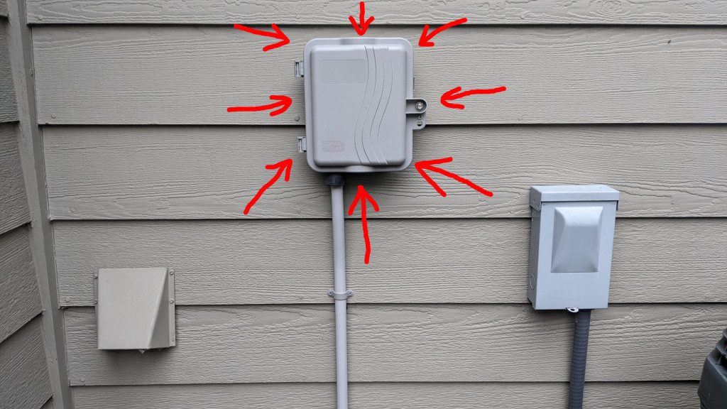 The Primex P700 OSP enclosure mounted on the outside of the house.