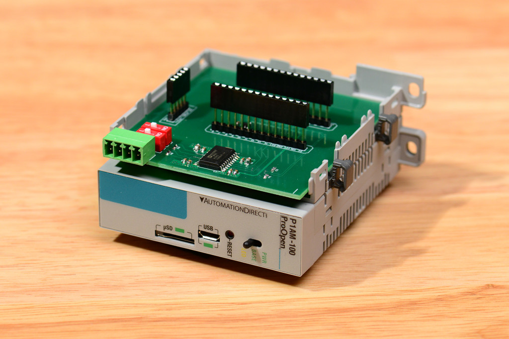 The completed RS-422 / RS-485 shield for the Automation Direct P1AM-100 open source PLC.