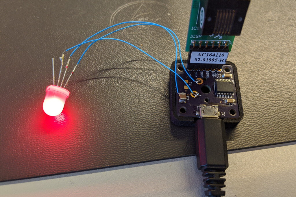 The prototyping hardware with debugger attached.