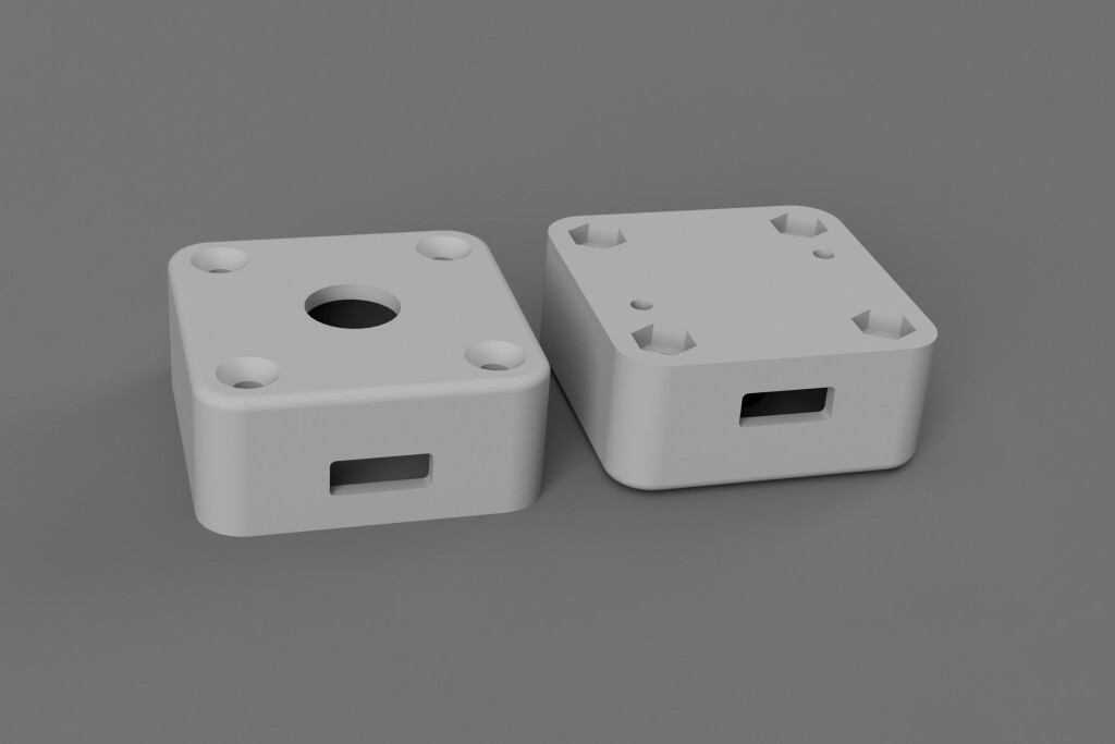 The completed enclosure design. It's the same as annoying caps lock warning buzzer except for the diameter of the hole in the center of the top.