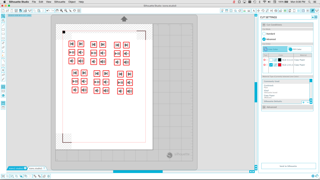The page of labels in the cutter software. Red lines are cut. Black images are printed.
