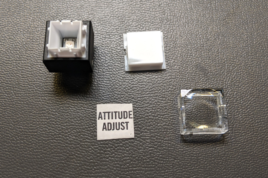 Key caps and labels on a similar switch.
