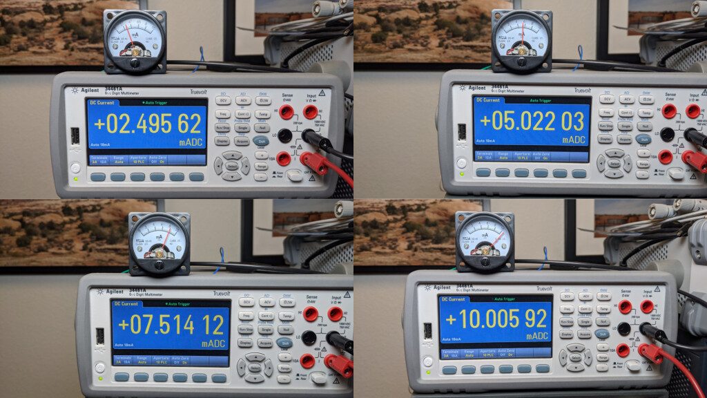 The HOA SO45 10 mA analog panel meters are more cute than accurate.