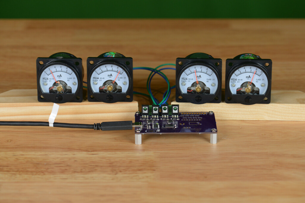 The completed USB analog panel meters project.