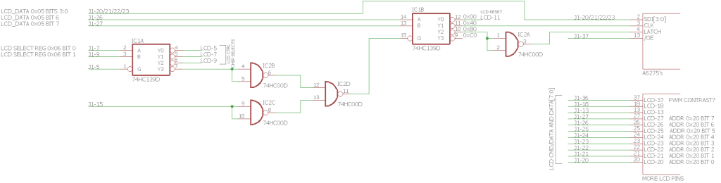 A partial schematic of the logic on the back of the LCD module.